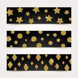 Banners with golden glitter elements Royalty Free Stock Photography