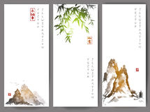 Banners with green bamboo, mountains and island Stock Photography