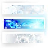 Banners in grijze en blauwe kleuren Stock Afbeeldingen