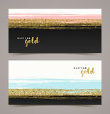 Banners with grunge glitter gold Royalty Free Stock Photo