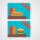 Banners with hamburger and hotdog Royalty Free Stock Photography