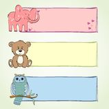 Banners. Hand drawn baby banners with cute animals Stock Photos