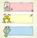 Banners. Hand drawn baby banners with cute animals Royalty Free Stock Photography