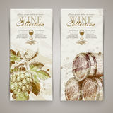Banners with hand drawn grapes and casks Royalty Free Stock Images