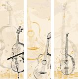 Banners. Hand drawn musical instruments on a light background Royalty Free Stock Photo