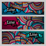 Banners with hand drawn waves line art Royalty Free Stock Photo