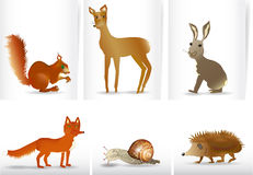 Banners with hand drawn wild animals. Banners with a squirrel, doe, hare, fox, snail and hedgehog Royalty Free Stock Photos