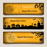 Banners with Happy Halloween vector illustration