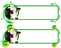 Banners with Head of Cow Leafs and Flowers Stock Photos
