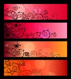 Banners, headers with floral elements. Horizontal red banners with absract flowers and hearts royalty free illustration