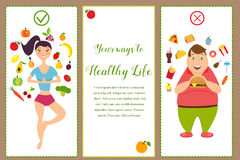 Banners with healthy food and fast food. Illustration of the fit girl and overweight man Royalty Free Stock Photos