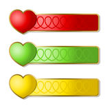 Banners with hearts. Multi-coloured banners with icons of hearts. A illustration stock illustration