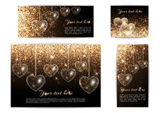 Banners with hearts of different sizes. Set of horizontal and vertical banners for a romantic decoration and greetings Stock Photography