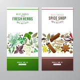 Banners with herbs and spices Royalty Free Stock Image
