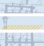 Banners with high voltage network Stock Photo