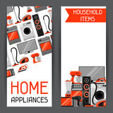 Banners with home appliances. Household items for sale and shopping advertising poster Stock Photo