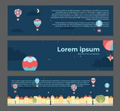 Banners with hot air balloons in town. Vector illustration of landscape with hot air balloons in night sky in town. Banners with isolated flat cartoon air Royalty Free Stock Photo