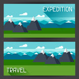 Banners with illustration of mountain landscape in Royalty Free Stock Photos