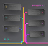 Banners infographic. Modern vector rectangle and line infographic elements in black Stock Photo