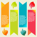 Banners for information pointing hand Royalty Free Stock Images