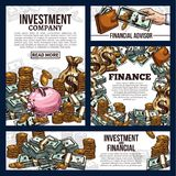 Banners for investment company. Finance vector banners with coins and dollar cash. Symbol of financial investment and bank account. Concept of financial advisor Stock Images
