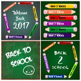 4 Banners Invitations Cards Back to School Royalty Free Stock Photo