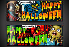 Banners Invite for Halloween Party. Detailed illustration of a Banner Invite for Halloween Party with Zombie and Screaming Woman Royalty Free Stock Photos