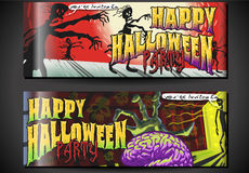 Banners Invite for Halloween Party. Detailed illustration of a Poster Invite for Halloween Party with Zombies Stock Photo