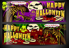 Banners Invite for Halloween Party. Detailed illustration of a Banners Invite for Halloween Party with Witch Stock Photo
