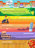 Banners with Italian sights. Colorful vector travel banners with Italian sights, cuisine and views of beautiful nature Royalty Free Stock Images