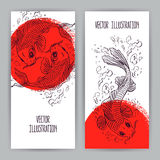 Banners with Japanese carps. Two beautiful vertical banners with Japanese carps in the red circle. hand-drawn illustration Royalty Free Stock Photos