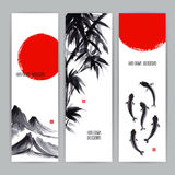 Banners with Japanese natural motifs. Three beautiful banners with Japanese natural motifs. Sumi-e. hand-drawn illustration Stock Images