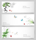 Banners in Japanese style sumie Royalty Free Stock Photo