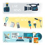 Banners with journalism icons. Royalty Free Stock Image