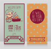 Banners for kids touristic camp with cute cartoon girl cooking marshmallow Royalty Free Stock Photo