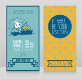 Banners for kids touristic camp with cute cartoon girl cooking marshmallow Stock Photography