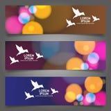 Banners, kopballen abstracte lichten, vector. Stock Afbeeldingen