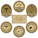 Banners, labels, icons, signs for family doctor services Stock Photos