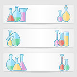 Banners with laboratory test tubes Stock Image