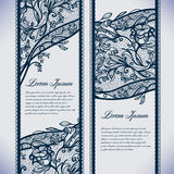 Banners lace. Abstract Lace Ribbon Vertical banners.Template frame design for card.Lace Doily.Can be used for packaging, invitations, and template Royalty Free Stock Image