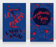 Banners for ladies night party with bright cocktails. Vector illustration Stock Images