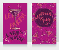 Banners for ladies night party with bright cocktails. Vector illustration Royalty Free Stock Photography