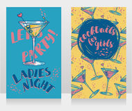 Banners for ladies night party with bright cocktails. Vector illustration Royalty Free Stock Photos