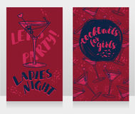 Banners for ladies night party with bright cocktails. Vector illustration Royalty Free Stock Images