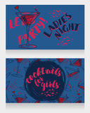 Banners for ladies night party with bright cocktails. Vector illustration Royalty Free Stock Image