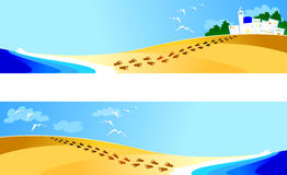Banners with landscape. Banners with marine landscape, double version Stock Images
