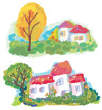 Banners with landscape and houses Stock Photos