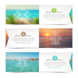 Banners with line drawing summer vacation and travel signs and emblems Stock Photography