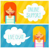 Banners with live chat support managers, young Stock Images