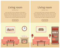 Banners of living room interior. Flat vector background. Banners of living room interior in flat style. Modern home design with furniture and text. Background Stock Images